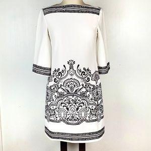 Donna Morgan winter white/black career dress EUC 4